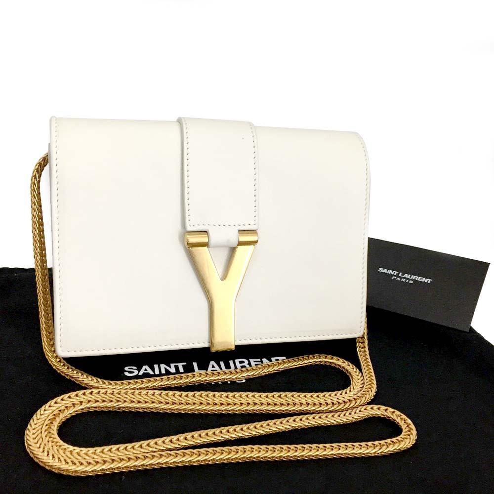 53d09e76 Details about SAINT LAURENT Classic Y line Leather 2way Chain Mini Shoulder  Clutch Bag /3419