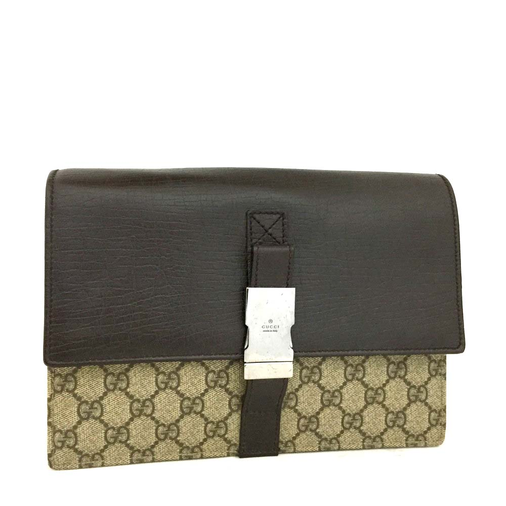 4a764172b7e6c0 100% Authentic GUCCI GG Supreme Leather Clutch Second Hand Bag /3543 ...