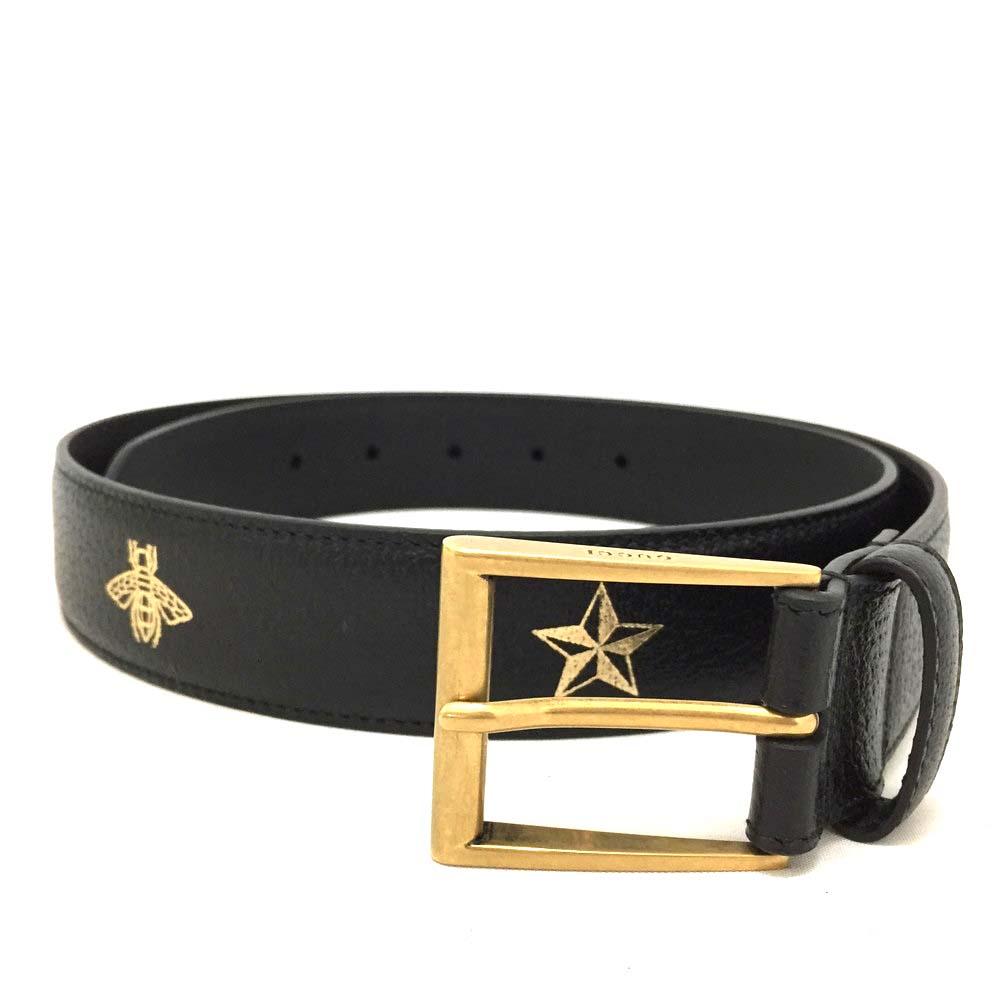 11601ba77ba New GUCCI Bee   Star Black Leather 85 34 Mens Belt  3637