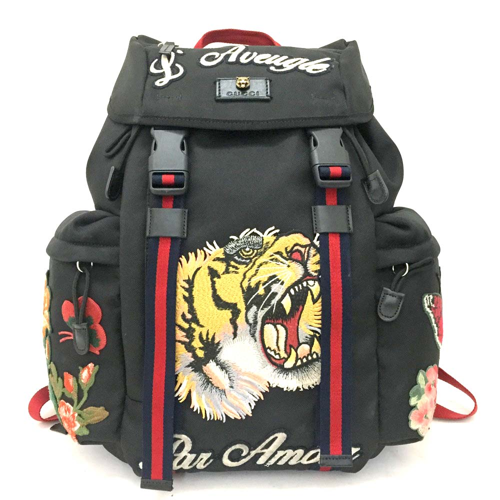 Details About Authentic Gucci Tiger Embroidered Techpack Black Backpack Mens Bag 3701